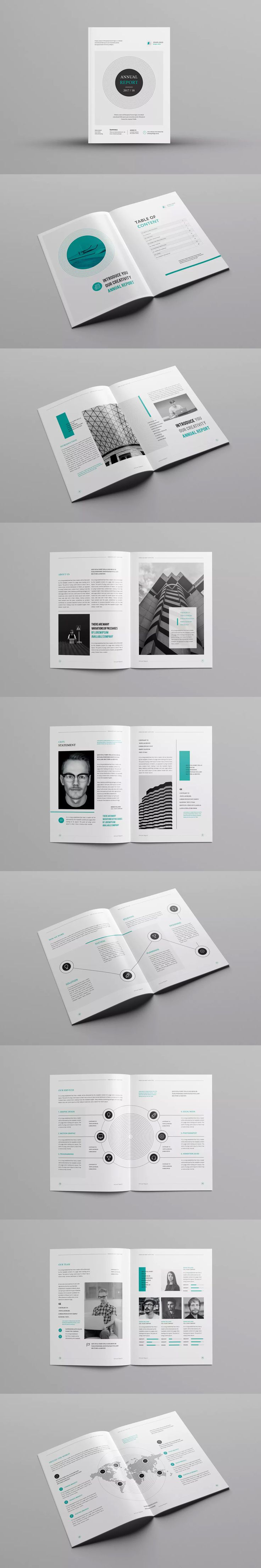 Annual Report Template InDesign INDD -  A4 & Us Letter #unlimiteddownloads