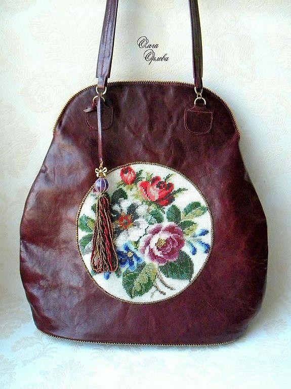 Купить Красная сумка - бордовый, сумка женская, кожа натуральная, бисер