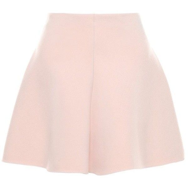 REDValentino Fitted And Flared Cotton-wool Skirt (1845725 PYG) ❤ liked on Polyvore featuring skirts, mini skirts, pink skirt, flare skirt, fitted skirts, red valentino skirt and zipper skirt