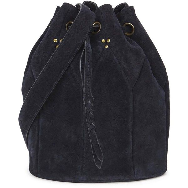 Womens Bucket Bags Jérôme Dreyfuss Popeye Large Navy Suede Bucket Bag (£410) ❤ liked on Polyvore featuring bags, handbags, shoulder bags, drawstring handbag, suede purse, drawstring purse, navy blue purse and jérôme dreyfuss