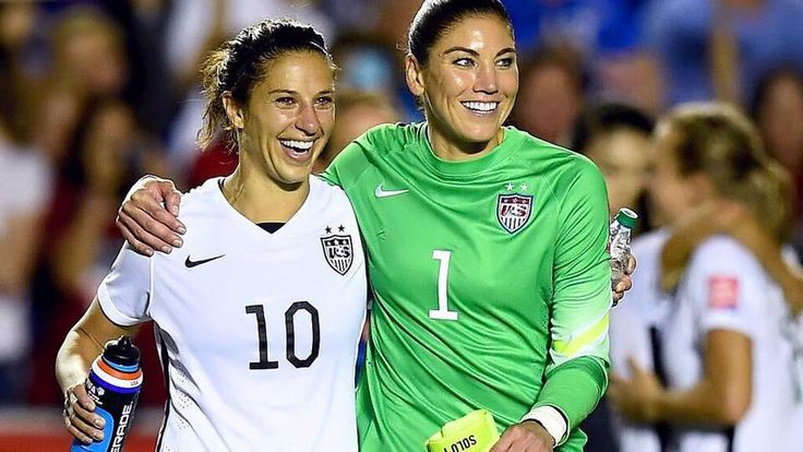 Carli Lloyd and Hope Solo after the USWNT 10 win vs China
