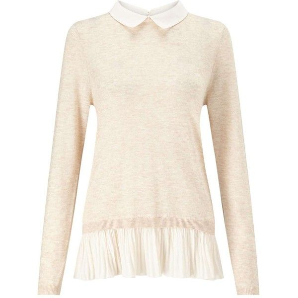 Miss Selfridge Knitted Pleated 2 in 1 Jumper (2,910 PHP) ❤ liked on Polyvore featuring tops, sweaters, shirts, nude, polyester shirt, distressed shirt, pink sweater, pink long sleeve shirt and ripped shirt