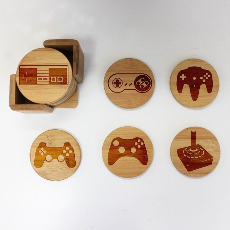 "Bamboo Coaster Set ""Video Game Controls"""