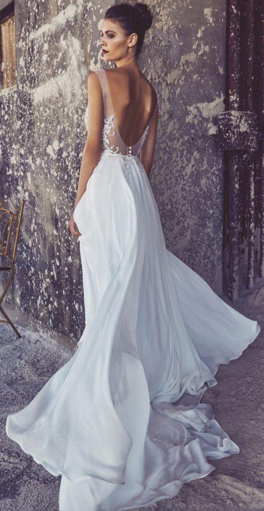 Sheer Scoop Back Silk Chiffon Skirt Wedding Dress