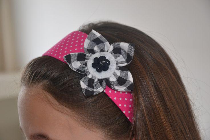 Haarband met stoffen bloem