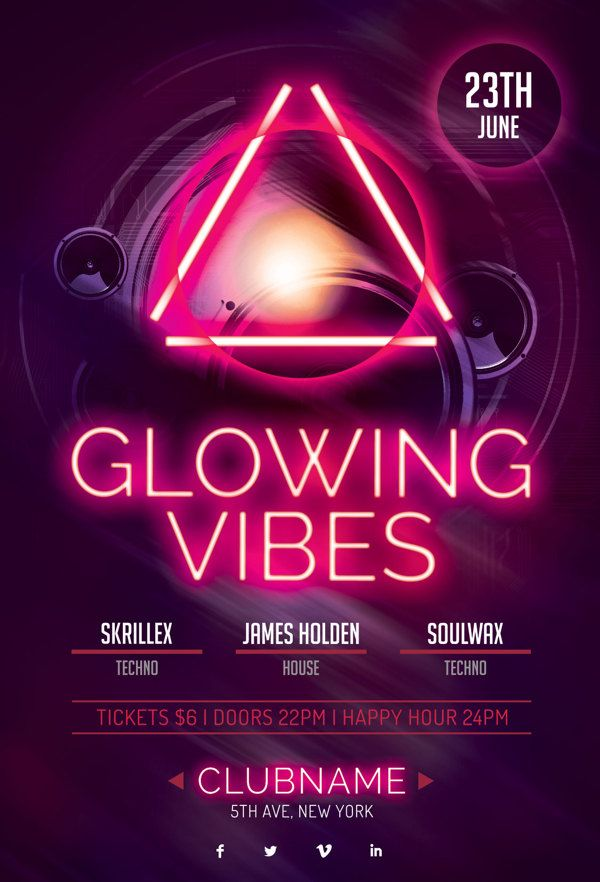 Glowing Vibes Flyer on Behance