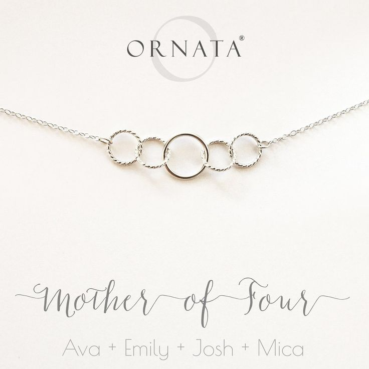 MOTHER OF FOUR PERSONALIZED STERLING SILVER NECKLACE CUSTOM FAMILY NECKLACE GIFT FOR MOM CUSTOMIZED CIRCLE NECKLACE FOR MOTHER
