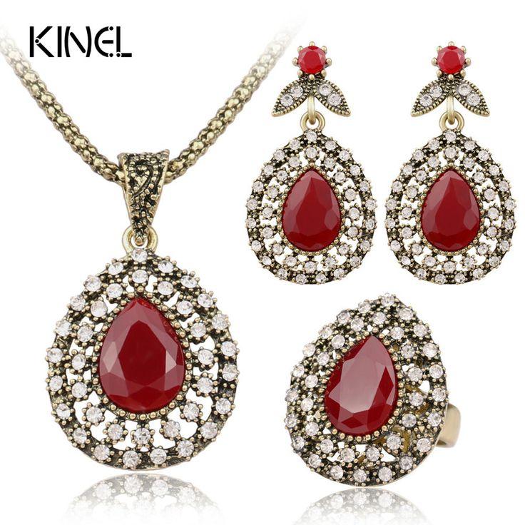 Fashion Red Jewelry Set All Over Sky Star Austrian Crystal Ancient Bronze Three-Piece Wedding Accessories Turkey Jewelry