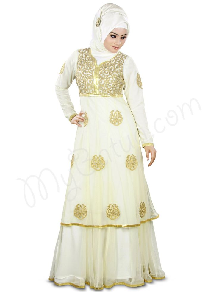 Beautiful Gold Embroidered Ivory Party Wear Nida #Abaya|#MyBatua.com Style No : AY-358 Price : $149.70 Available Sizes XS to 7XL