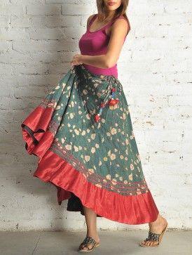 Green Block Print Kalidar Cotton Skirt - Free Size