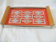 hübsches, kleines Tablett Holz Metall Glas  VEB Haushaltsgeräte Struth H. DDR