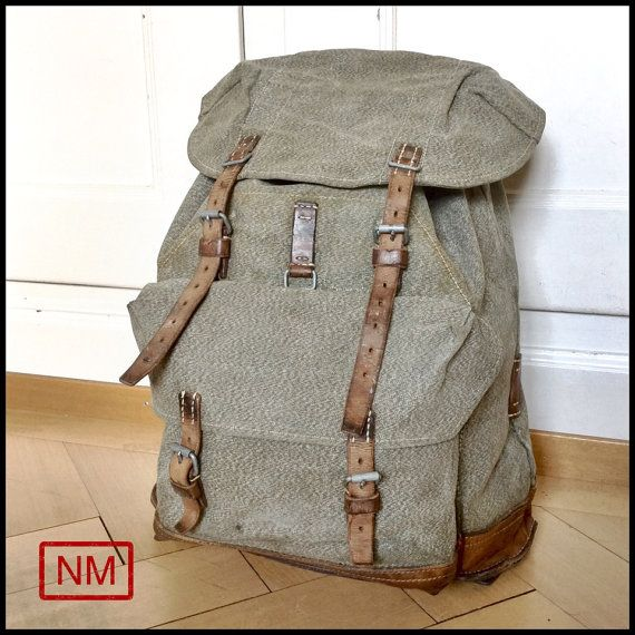 Vintage Swiss Army Backpack RucksackMilitary by NaturaMachinata