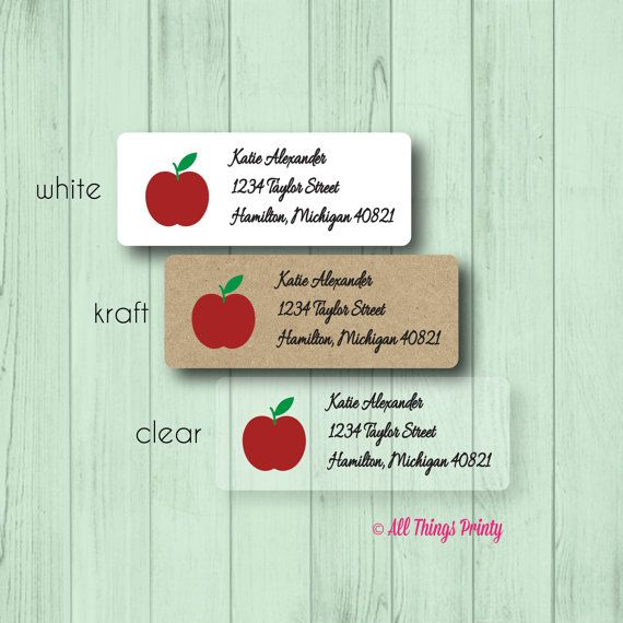 Apple address labels custom personalized teacher mailing stickers matte white kraft or clear gloss