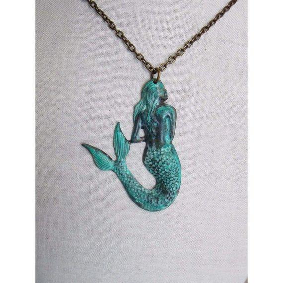 Mermaid Verdigris Patina Nautical Necklace