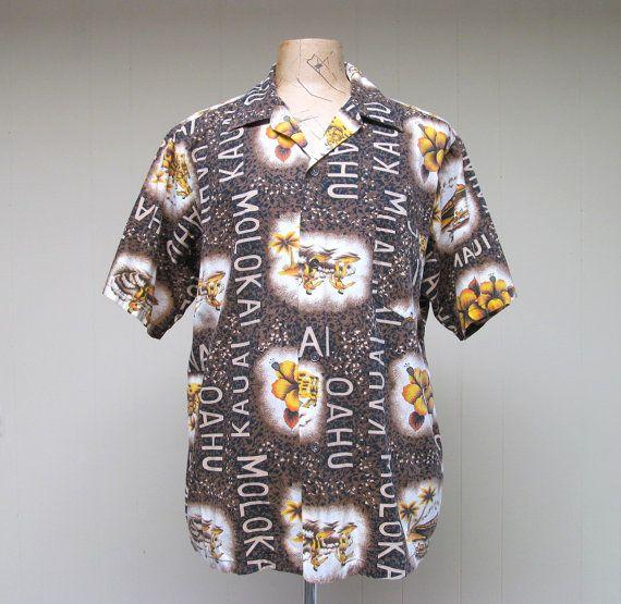Vintage 1960s Mens Hawaiian Shirt / 60s Cotton Aloha Shirt /