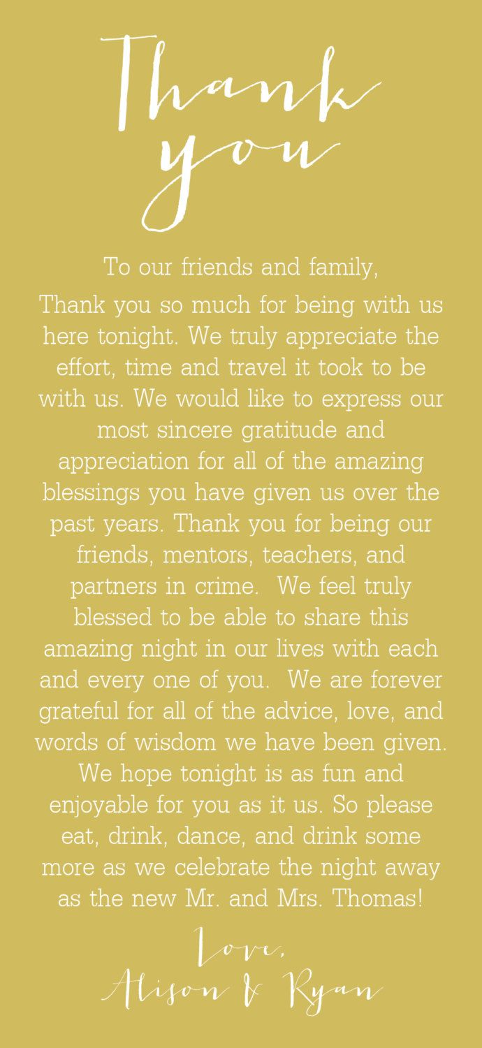 Best 25 Thank you speech wedding ideas – Best Wedding Thank You Card Wording