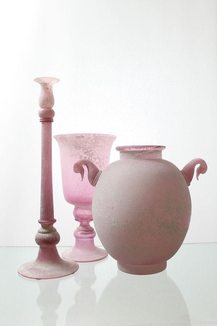 "Seguso Vetri d´ Arte, Murano Drei aüßerst dekorative Objekte ""a Scavo rosé"""