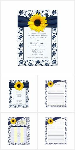 95e7f18b7674 Sunflower Navy Blue Floral Wedding Stationery Sunflower navy blue floral  damask wedding or bridal shower stationery set. Available for purchase is a  wedding ...