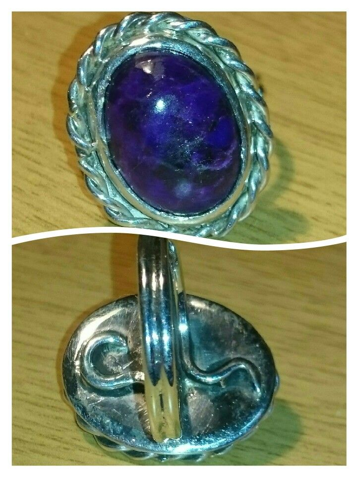 Sterling silver ring with sugilite gemstone.