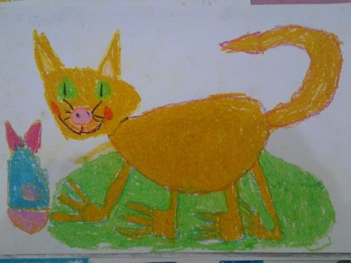 Kucing dan Ikan Krayon