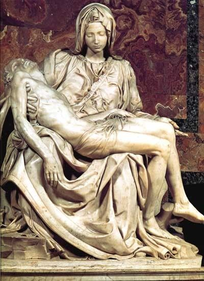 Michelangelo's PIETE:  No photo or words can describe this great sculpture -- some parts of it so thin that you can see the light come through.  It is incredible beyond belief.  I stood in front of it (2002) and cried.  St. Peter's Basilica (Vatican, Rome).