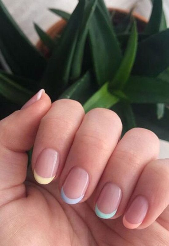 The unexpected manicure trend everyone is loving right now Here's a clue: pastel rainbow nails. The unexpected manicure trend everyone is loving right now Here's a clue: pastel rainbow nails. Summer Acrylic Nails, Best Acrylic Nails, Pastel Nails, Colorful Nails, Pink Tip Nails, Summer French Nails, S And S Nails, French Tip Nails, Summer Nails