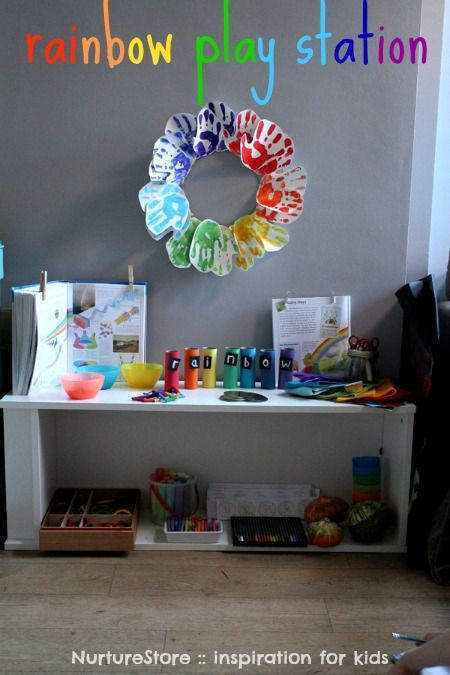 Tons of activities for a Rainbow Play and Learn Center including a FREE printable!