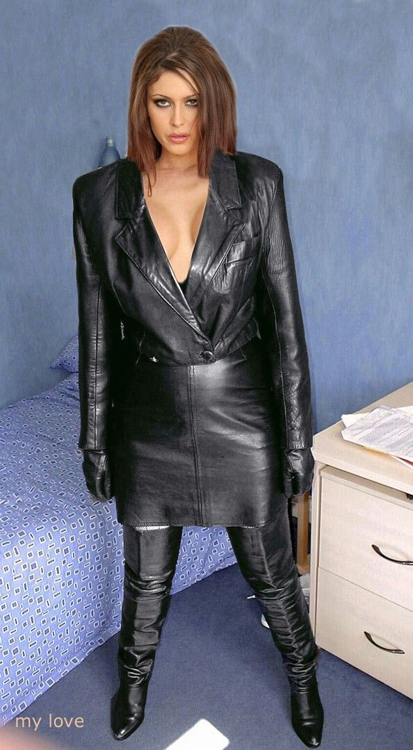 Cropped black leather jacket, black leather skirt, thigh boots and gloves in the bedroom