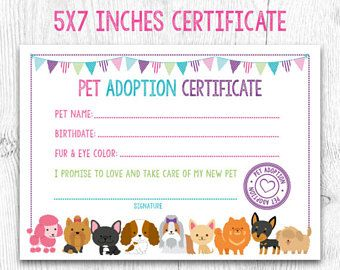 Image result for pet adoption certificate free printable ...