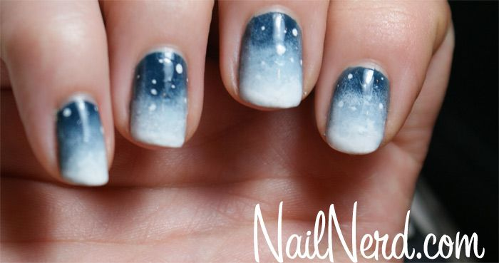 snow nails - Base: OPI Ski Teal We Drop &  4 Rounds of Light Sponging with Kleancolor White. Few Dots for Snow and Stippled Tips for Snow drifts