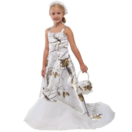 Realtree Camo Flower Girl Dress with Bridal Train Front Image