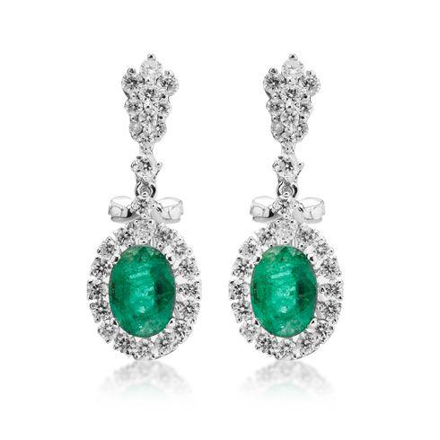 Cercei cu smarald si diamante C605