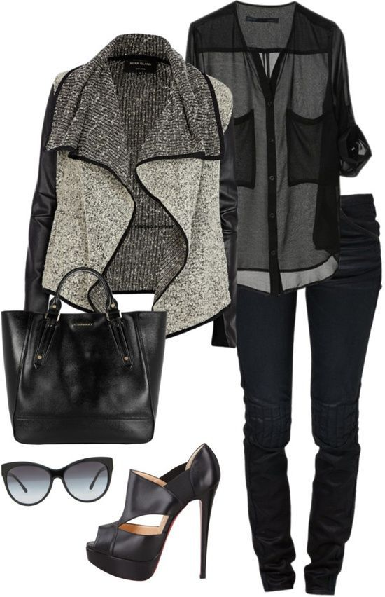 Lovely black casual jeans and black leather cute hand bag and stylish black blouse and grey style magnificent sweater blouse and black leather high heels ladies sandals