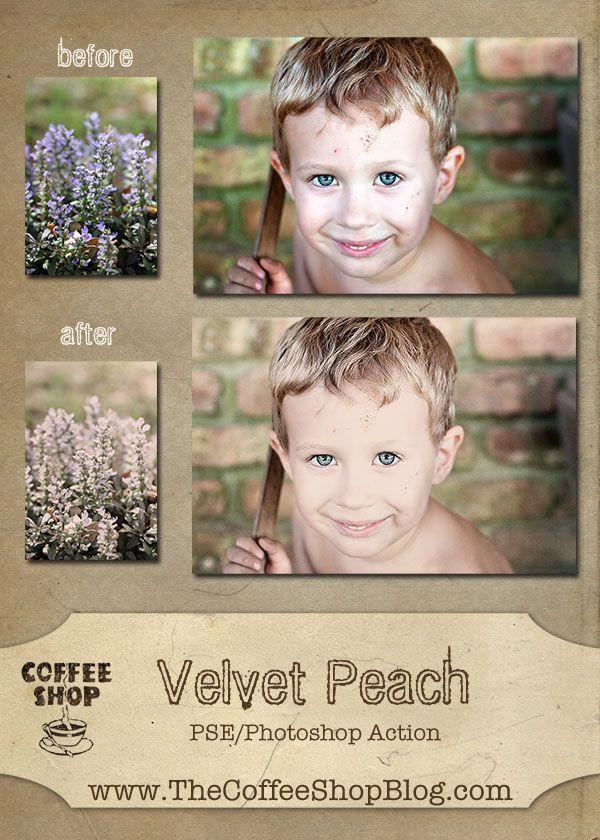 CoffeeShop Velvet Peach free Photoshop/PSE action!: Photoshop Elements, Velvet Peach, Coffeeshop Blog, Tutorial, Photoshop Actions, Action Unwrapped, Photography Tips, Coffeeshop Velvet, Coffeeshop Actions