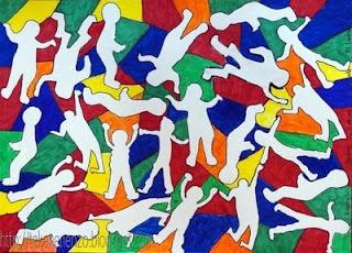 Groepswerk in de stijl van Keith Haring - eventueel in het groot doen met krijt op de speelplaats?