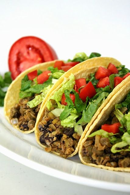 The Garden Grazer: Black Bean Lentil Tacos swap the meat in a tradition taco salad for lentils/black beans/rice/veggie crumbles, im not one to use taco shells