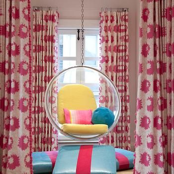 clear hanging bubble chair with pink chevron cushions girlu0027s room