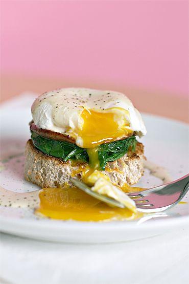 Poached eggs with shiitake mushrooms, wilted arugula | Yum ...