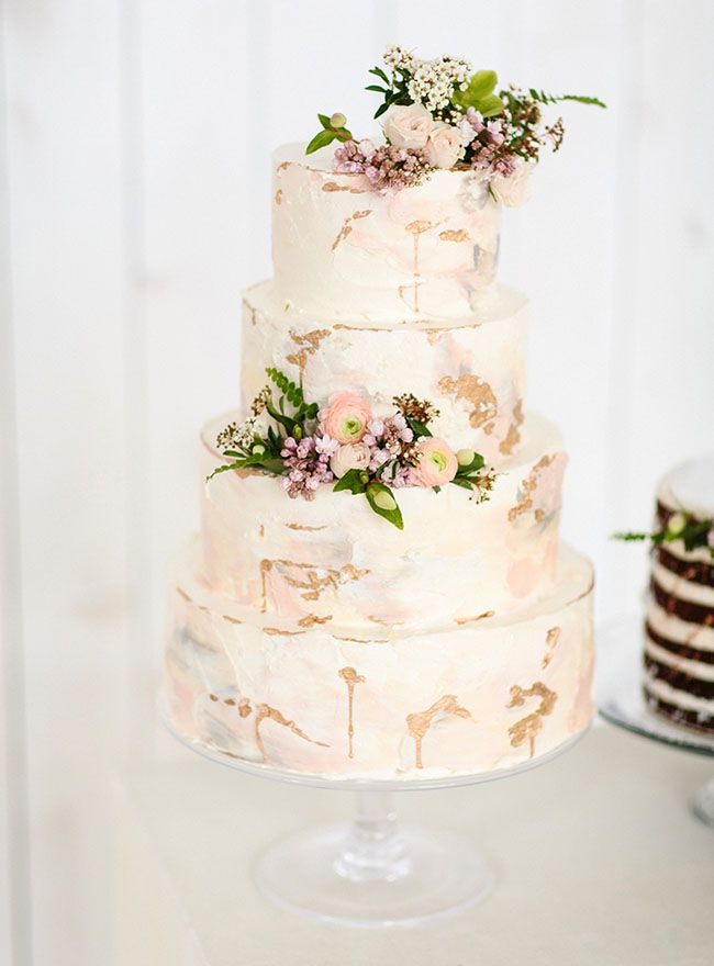Modern metallic pink wedding cake