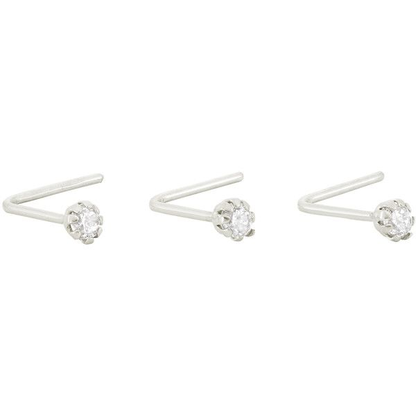 Gioelli 10k White Gold Cubic Zirconia .22 Gauge Nose Ring Set ($27) ❤ liked on Polyvore featuring jewelry, white, white gold jewelry, polish jewelry, body jewellery, body jewelry and cz jewelry