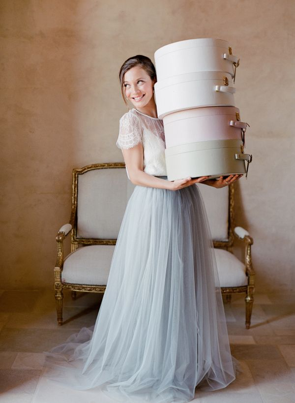 light grey two piece tulle wedding dress / http://www.deerpearlflowers.com/two-piece-wedding-dresses/