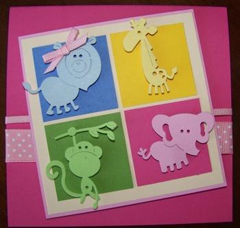 baby card made using Cuttlebug 2x2 dies - Zoo Animals