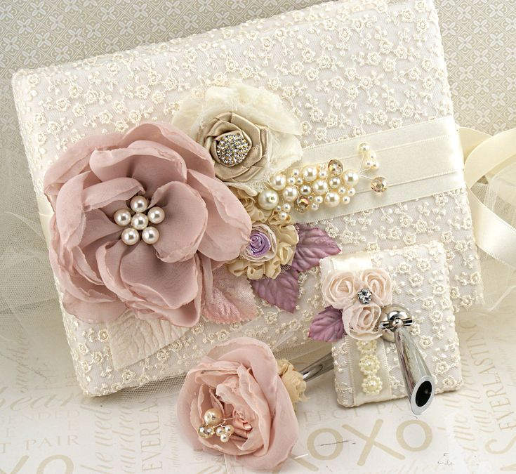 Wedding Guest Book and Pen Set Signature Book in Blush Pink, Champagne, Gold , Ivory and Lilac- Marie Antoinette. $140.00, via Etsy.