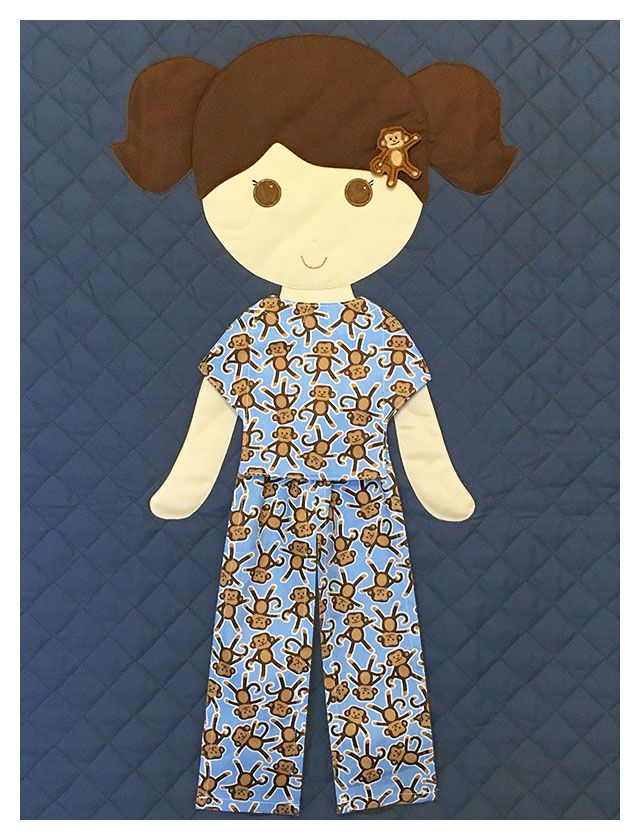 Paper Doll Blanket - Monkey pajamas