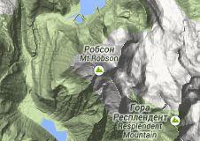 Map of канадские скалистые горы