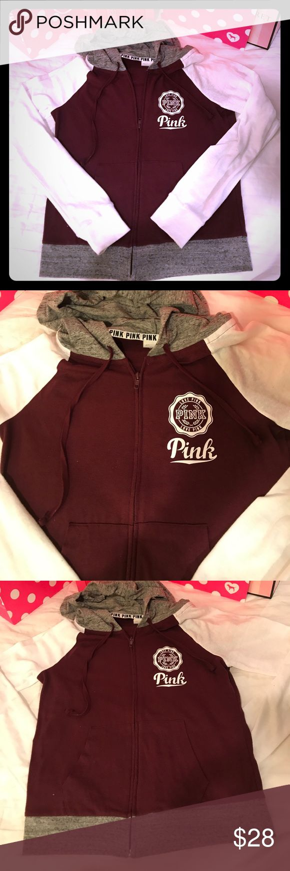 Victoria Secret Pink Beach full zip Victoria Secret Pink super cute Ruby Red/Gray/White perfect Beach Full Zip. Size Small- I bought this full zip brand new from one of my favorite poshers & a few of her items came with the tags on the inside cut - no biggie lol Because no one sees your inside tag 😂 PINK Victoria's Secret Tops Sweatshirts & Hoodies