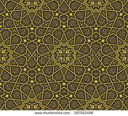 Islamic ornament golden & black background, vector illustration