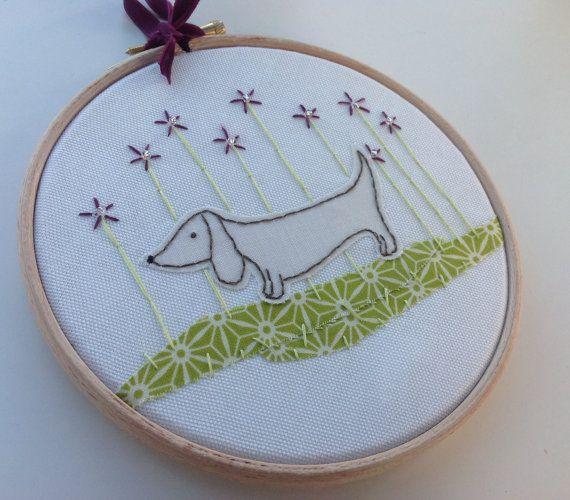 Doxie Dachshund art  sausage dog hoop art   dog by BoxRoomBazaar