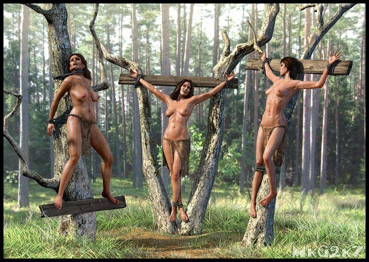 фото мужчина привязывает голую девушку к дереву