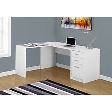 monarch specialties computer desk white corner with tempered glass